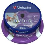 DVD+R VERBATIM 43539, 16x, 4.7GB, Printabil, 25buc - Spindle