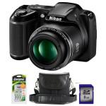 Camera foto digitala NIKON Coolpix L340, 20 Mp, 28x, 3 inch, negru + geanta + incarcator + card 8GB
