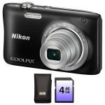 Camera foto digitala NIKON Coolpix S2900, 20.1 Mp, 5x, 3.2 inch, negru + geanta + card SD 4GB