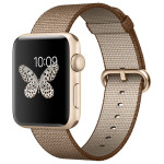 APPLE Watch Series 2 Sport 42mm Gold Aluminum Case, Toasted Coffee Woven Nylon Band