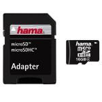 Card de memorie microSDHC 16 GB + adaptor HAMA 104345
