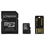 Multi Kit KINGSTON 4GB Clasa 4, microSD + adaptor SD + USB reader