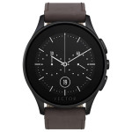 Smartwatch VECTOR Luna, Brushed Black with Brown Leather Strap, Small fit