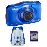 Camera foto digitala NIKON Coolpix S32, 13.2 Mp, 3x, 2.7 inch, albastru + rucsac + card SD 8GB