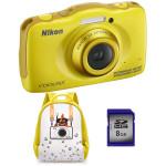Camera foto digitala NIKON Coolpix S32, 13.2 Mp, 3x, 2.7 inch, galben + rucsac + card SD 8GB
