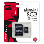 Card de memorie microSDHC 8GB clasa 10 UHS-I 45MB/s + adaptor KINGSTON SDC10G2/8GB