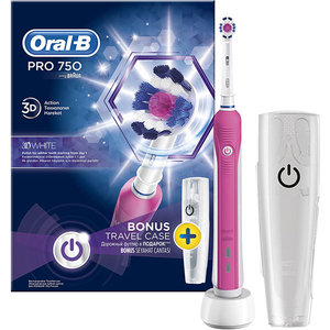 Periuta de dinti electrica ORAL-B PRO 750, 1 program, 1 capat, suport de calatorie inclus, roz