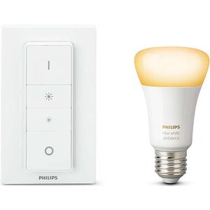 Bec LED PHILIPS Hue A19 10.5 (60W), E27, Lumina alba + Intrerupator cu variator
