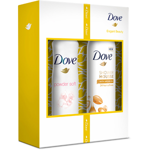 Set cadou DOVE: Gel de dus Argan Oil, 200ml + Deodorant spray Powder Soft, 150ml