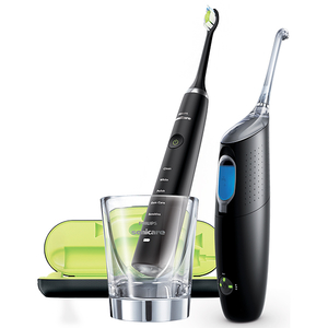 Pachet De Curatare Intradentara Philips Sonicare Diamond Clean Airfloss Hx8491/03, 1 Diamond Clean + 1 Airfloss Ultra, Reincarcabil, Negru