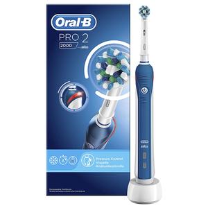 Periuta de dinti electrica ORAL-B PRO 2 2000 Cross Action, curatare 3D, 1 capat, alb-albastru