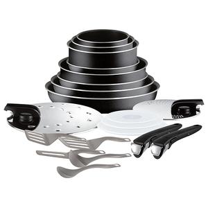 Set Vase Tefal Ingenio Essential L2009702, 20 Piese, Aluminiu, Negru