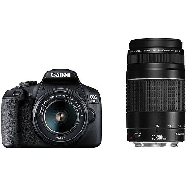 Camera Foto Digitala Canon Eos 2000d+ Obiectiv 18-55 Is + Obiectiv 75-300 See, Wi-fi, 24.1mp, Negru