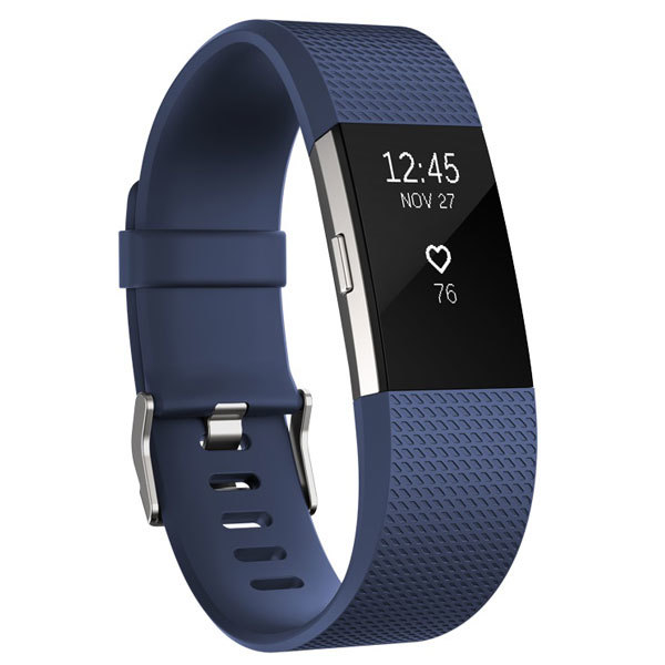 Bratara Fitness Fitbit Charge 2 Blue Silver, Large