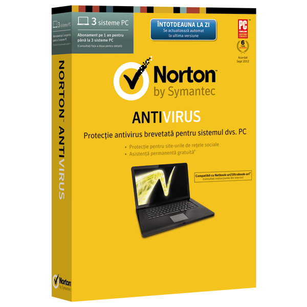 Norton antivirus 2014 1 an 3 sisteme PC Box