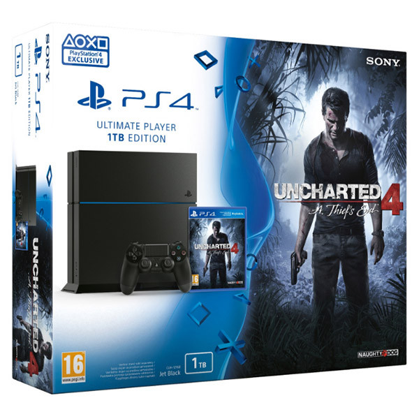 Consola Sony Playstation 4, 1 TB, negru + joc Uncharted 4