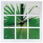 Ceas de perete Palm Leaf HAMA 113993, alb-verde