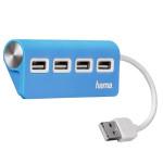 Hub USB HAMA 12179, 4 porturi, albastru