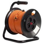 Derulator BACHMANN 392.450, 4 prize Schuko, 50m HO5VV-F 3G2.5, portocaliu