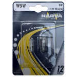 Bec auto halogen NARVA 171774000, W5W, 12V, 5W, W2, 1X9, 5D, set 2 bucati