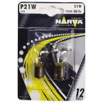 Bec auto halogen NARVA 176354000, P21W, 12V, 21W, BA15s, set 2 bucati