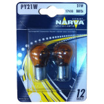 Bec auto halogen NARVA 176384000, PY21W, 12V, 21W, BAU15S, orange, set 2 bucati
