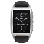 Smartwatch VECTOR Meridian, Steel with Black Leather Strap, Small fit