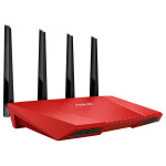 Router Wireless ASUS Gigabit RT-AC87U AC2400, Dual-Band 600 + 1734Mbps, USB 2.0, USB 3.0, rosu