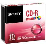 CD-R SONY 10CDQ80PS, 48x, 700MB, printabil, 10buc - Spindle
