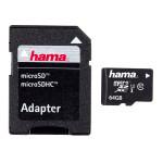 Card de memorie microSDXC 64GB Clasa 10 + adaptor, HAMA 108077