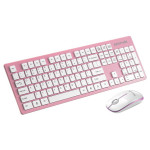 Kit tastatura si mouse fara fir PROMATE Keymate-2, USB, roz