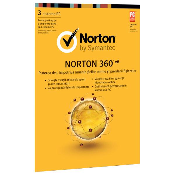 Licenta electronica NORTON 360v6 EN3601Y3U 12 luni pentru 3 utilizatori
