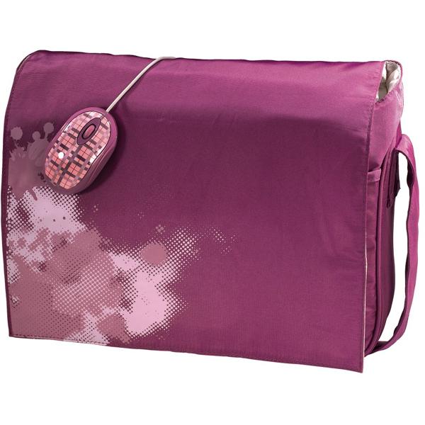 Geanta laptop HAMA KARO53882  mouse cu fir  156 inch roz
