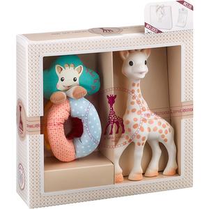 Set cadou VULLI Girafa Sophie + zornaitoare Sense&Soft, 0 luni+, multicolor