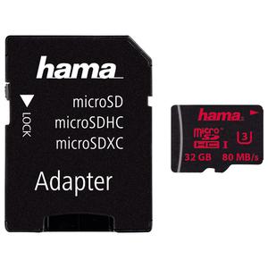 Card de memorie HAMA 123978 microSDHC, 32GB, Clasa UHS-I 3, 80MBs, adaptor