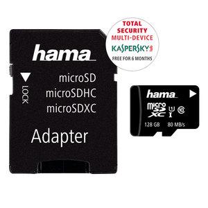 Card de memorie HAMA 124158 microSDXC, 128GB, clasa 10 UHS-I, 80MBs, adaptor SD + 6 luni licenta Kaspersky