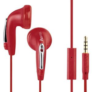 Casti HAMA HK1216 177088, Cu Fir, In-Ear, Microfon, rosu