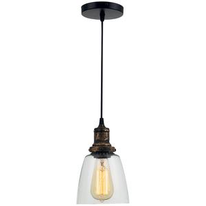 Pendul ERSTE LICHT Edison 0029474, 60W, E27, negru-bronz