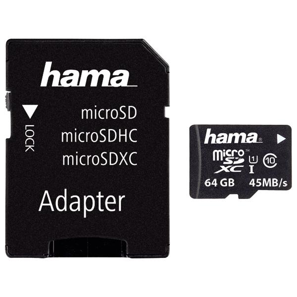 Card de memorie HAMA 114735 microSDXC, 64GB, Clasa 10 UHS-I, 45MBs, adaptor