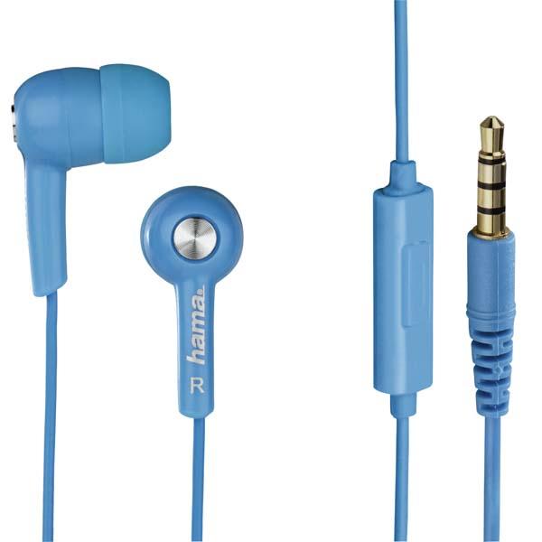 Casti HAMA HK2114 122691, Cu Fir, In-Ear, Microfon, albastru