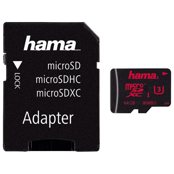 Card de memorie HAMA 123979 microSDXC, 64GB, Clasa UHS-I 3, 80MBs, adaptor