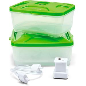 Set caserole TEFAL VacuPack Plus XA258010, 2 piese, 0.6 - 0.8l, plastic, verde