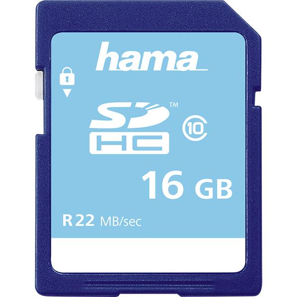 Card de memorie SD HC 16 GB HAMA 104367, R:22 MB/S