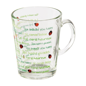 Cana de ceai XAVAX Happy 111331, 0.26l, sticla, verde-rosu