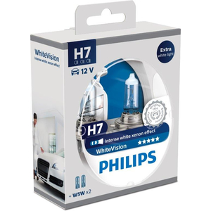Set 2 becuri auto H7 PHILIPS White Vision 55W
