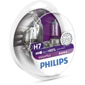 Bec auto far halogen PHILIPS H7 Vision Plus+60%, 12V, 55W, PX26D, set 2 bucati