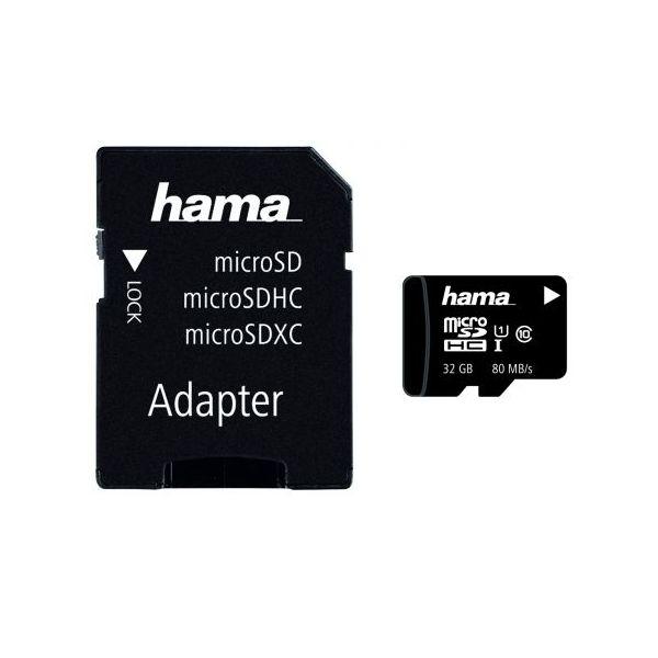 Card de memorie HAMA 124151 microSDXC, 32GB, clasa 10 UHS-I, 80MBs, adaptor