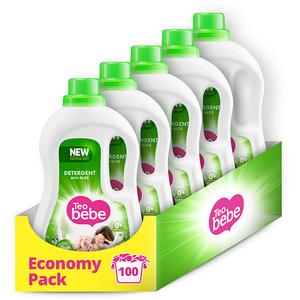 Detergent lichid TEO BEBE Cotton Soft Aloe, 5 x 1.1l, 100 spalari
