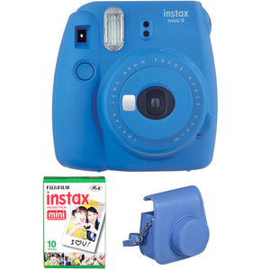 Camera foto instant FUJI Instax Mini 9 + Husa piele + 10 poze, Cobalt Blue