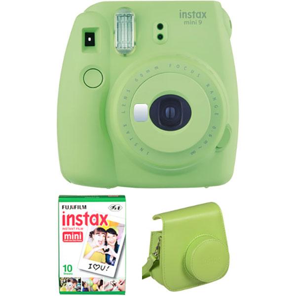 Camera foto instant FUJI Instax Mini 9 + Husa piele + 10 poze, Lime Green